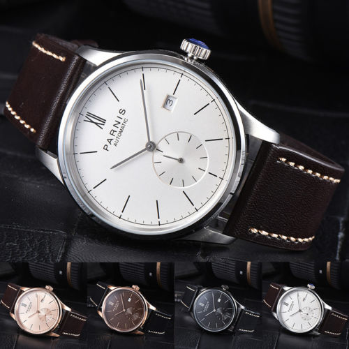 Top Hot New Classic vintage 42mm Parnis Black Brown White Dial Date Luxury Brand Romantic Automatic Movement men's Watches l120 romantic date