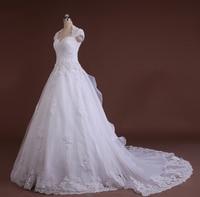Plus Size Wedding Dress With Sleeves Custom Made Bride Vestido De Noiva 2014 A Line Open