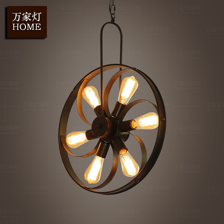 Industrial Wind Retro Wrought Iron Wheel Droplight LOFT Restaurant Bar Counter Living Room