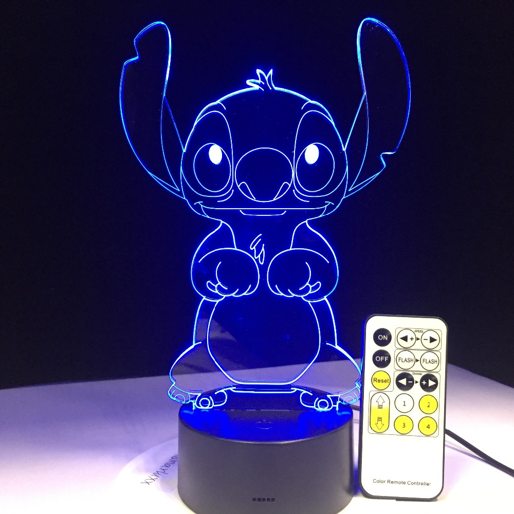 3D LED Lamp Bedroom Stitch Table Night Light Acrylic Panel USB Cable 7 Colors Change Base Lamp Kids Gift Wholesale Drop Shipping недорого
