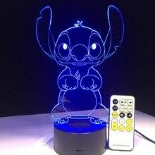 3D светодио дный лампа для спальни стежка настольная ночник акриловая панель USB кабель 7 цветов сменная Базовая лампа детский подарок оптовая продажа Прямая доставка