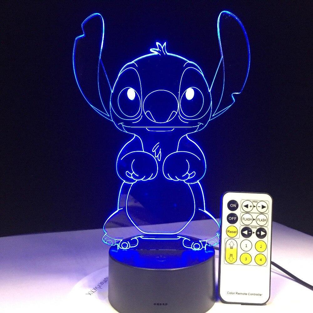 Lámpara LED 3D para dormitorio Stitch mesa de noche Panel acrílico Cable USB 7 colores cambiar lámpara Base regalo para niños venta al por mayor Envío Directo