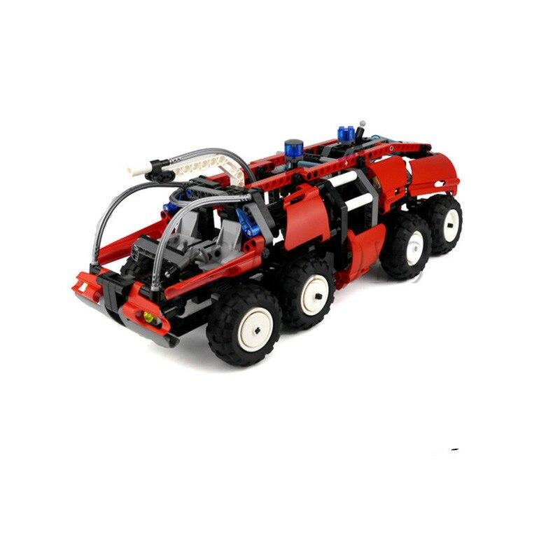 WAZ Technic Creative 674pcs Airport Fire Truck Compatible Lepines Set Building Blocks Figure Bricks Figures Toys for Children
