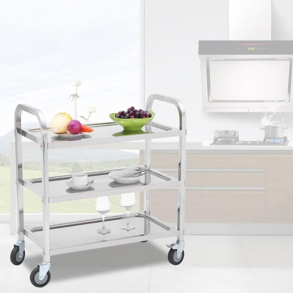Newest Large Size Stainless Steel Kitchen Trolley Universal Transport  Trolley Space Saving Storage Rack Kitchen Storage Cart