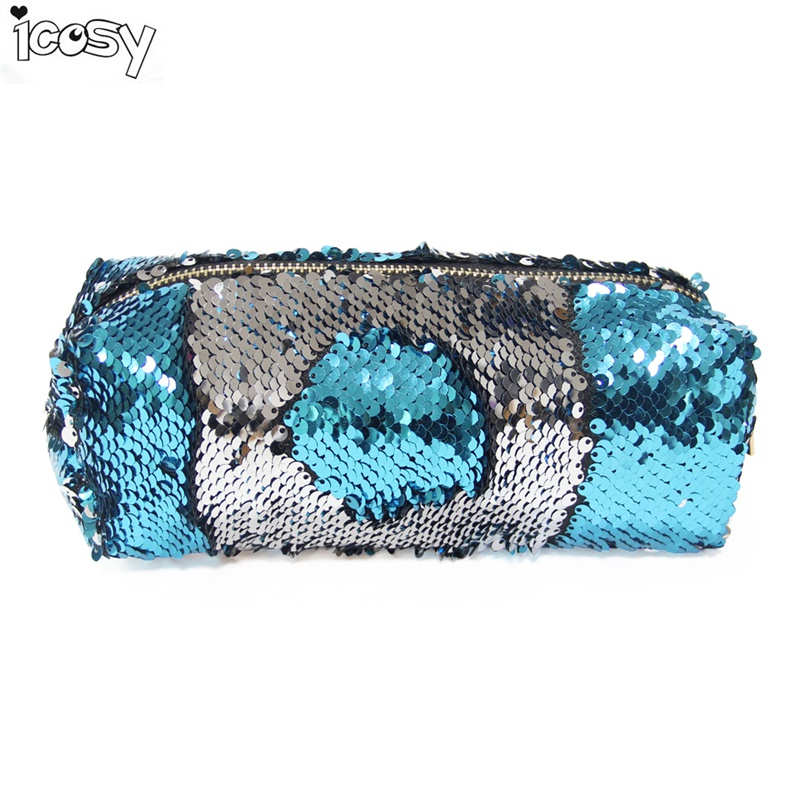 Color Changing Reversible Sequins Mermaid Pencil Bags for Girls DIY Magic Pencil Cases For Children School Home Office Storage