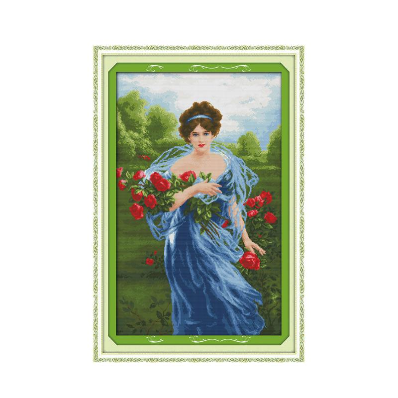 Invincible beauty girl on green grass picking flowers beautiful handmade embroidery cross stitch kit charm red rose paintingInvincible beauty girl on green grass picking flowers beautiful handmade embroidery cross stitch kit charm red rose painting