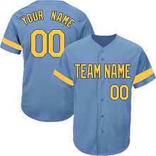 ba1d37717d5 Light Blue Custom Baseball Jersey for Men Women Youth Practice Embroidered  Team Name Number Design Your