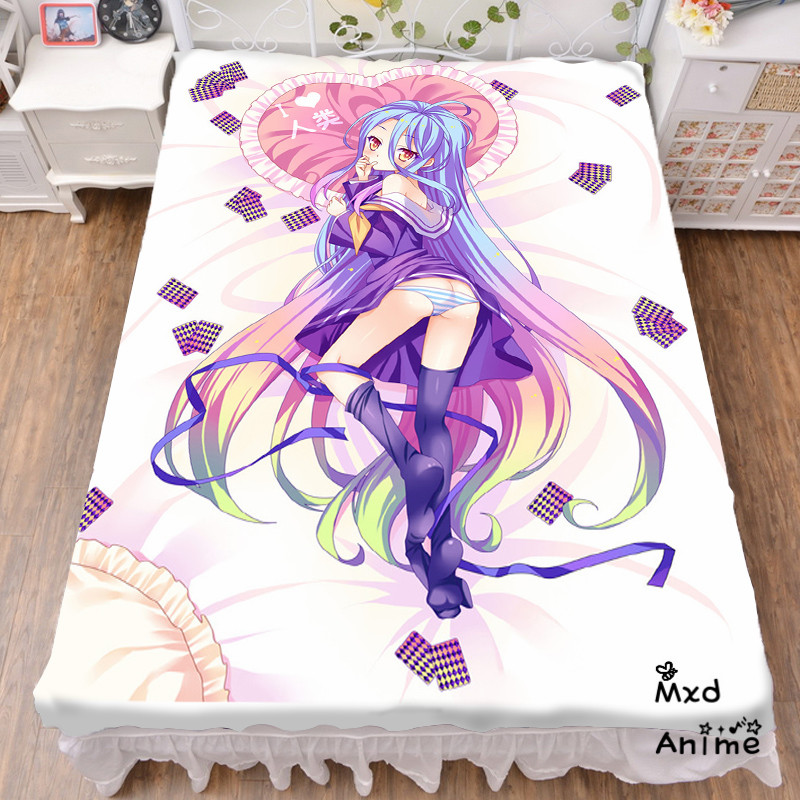 Brave Japanese Anime No Game No Life Shiro Bed Sheet Throw Blanket Bedding Coverlet Cosplay Gifts Flat Sheet Cd047 Furniture
