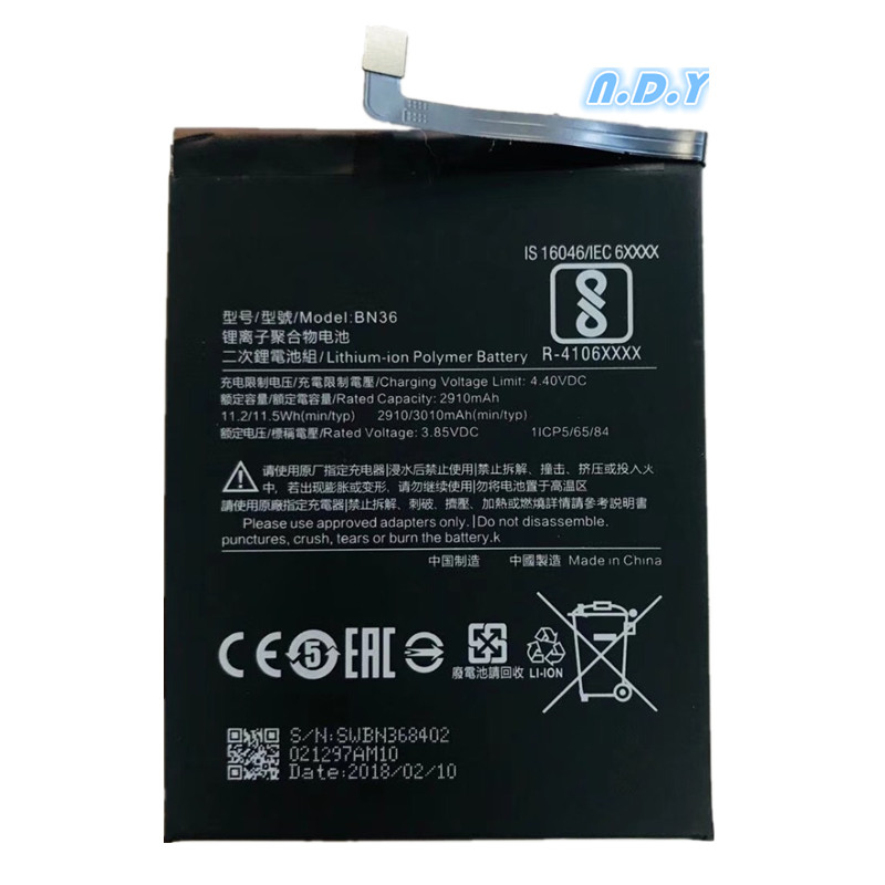 For Xiaomi BN36 2910/3010mAh <font><b>Battery</b></font> For Xiaomi <font><b>Mi</b></font> <font><b>6X</b></font> <font><b>Battery</b></font> Batterie Bateria Accumulator Smart image