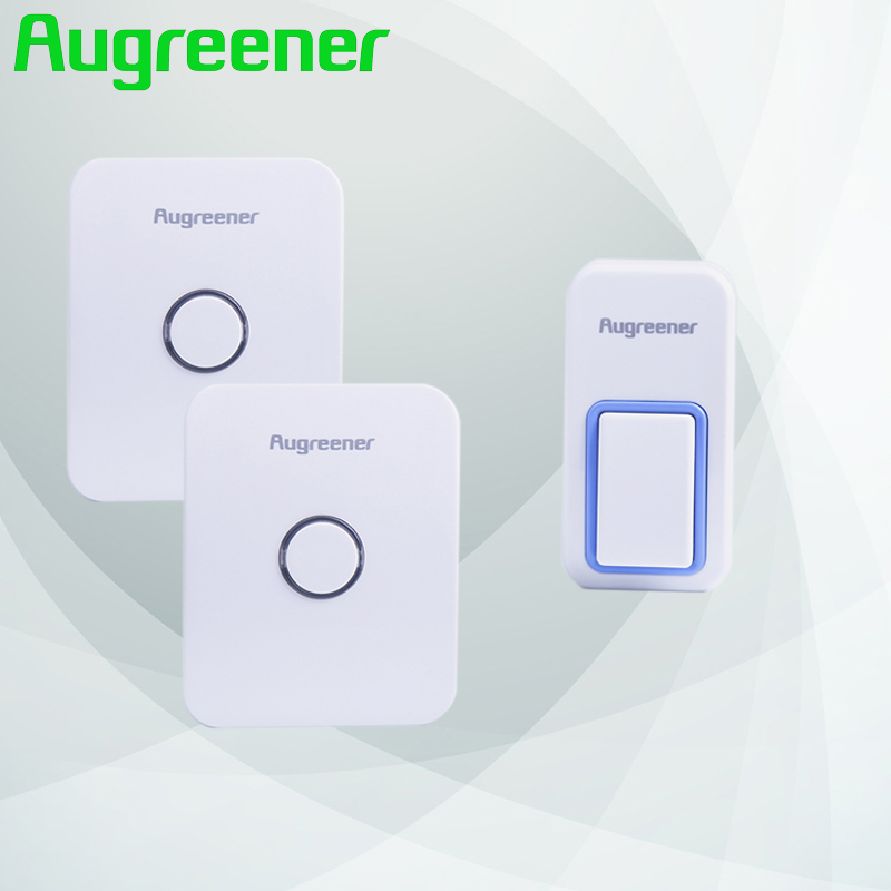 Augreener 1 button Doorbell Wireless with 2 receivers Calls for Doors Waterproof Long Working Range Smart Bells Free Shipping 2 receivers 60 buzzers wireless restaurant buzzer caller table call calling button waiter pager system