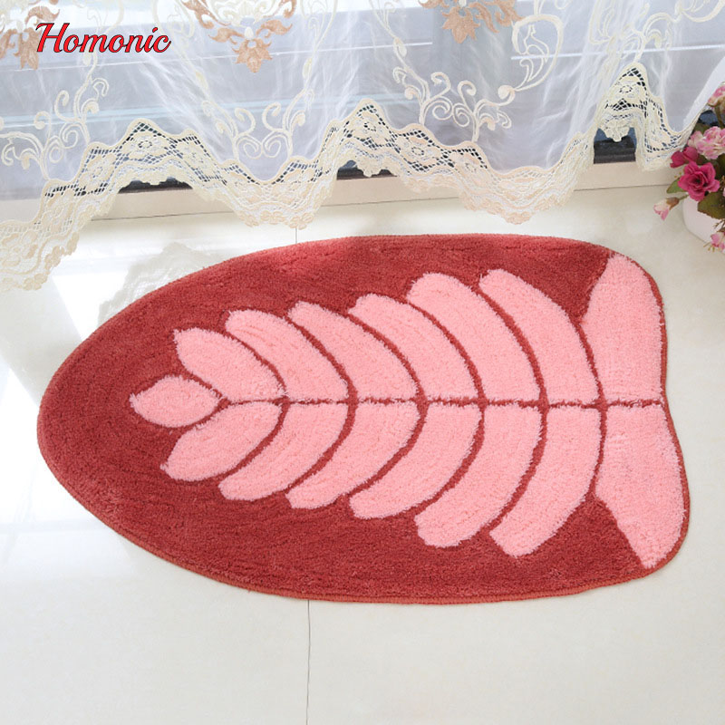 Durable Entrance Door Mat Funny Lovely leaves Pattern Rugs Light Thin Polyester water absorbent anti-slip Kitchen Bedroom Carpet