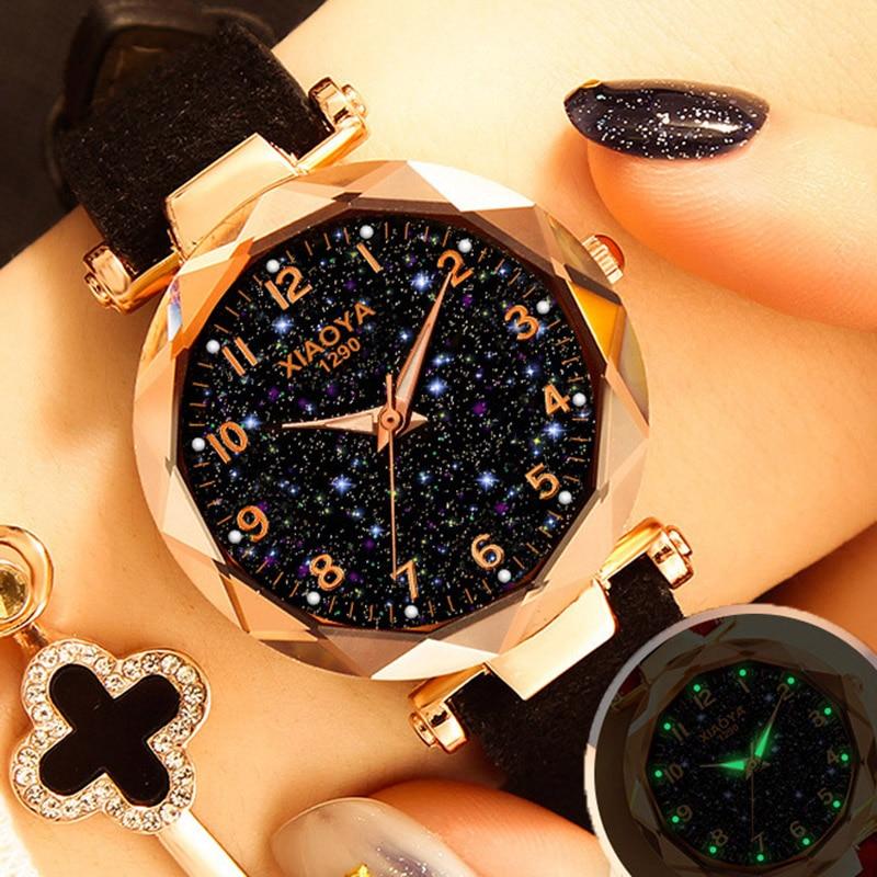 Dropshipping Women s font b Watches b font Fashion Starry Sky Quartz Wristwatches Ladies Luxury Golden