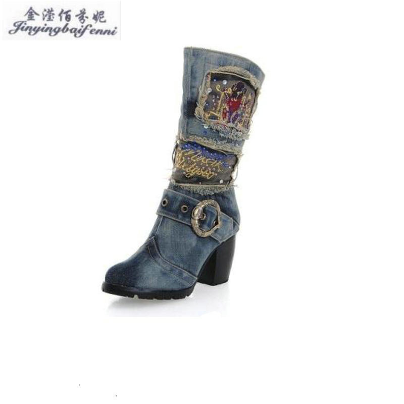 Spring High Heeled Women s Boots Motorcycle Boots Denim Rough With Heavy Bottomed Side Zipper Boots
