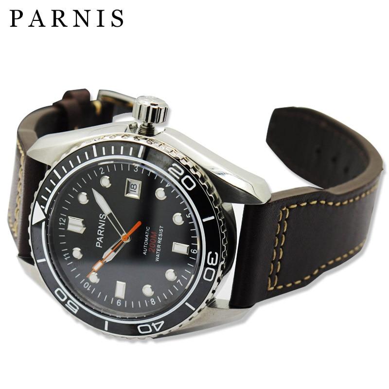 45mm Parnis font b Men s b font Automatic font b Mechanical b font Watch Ceramic