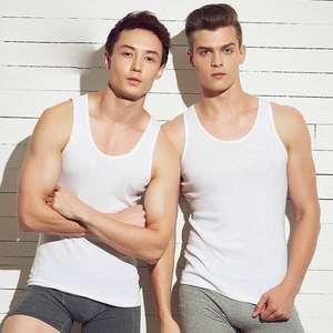 Men's Top-Underwear Muscle-Vest Gymclothing Cotton Sleeveless 3pcs/Lot O-Neck Asian-Size