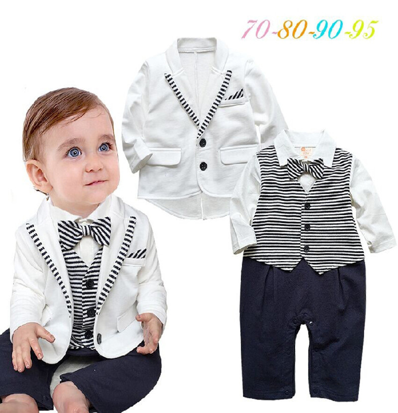 Spring Autumn Style Boy Romper Baby Clothing Sets Children Boy Gentleman Clothes Long Sleeve Striped Tie