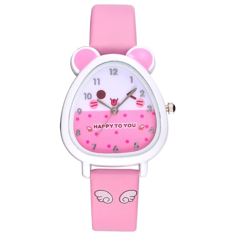 Wrist-Watch Hamster-Shaped Hot-Sale Cute Quartz Dial PU with Strap Cartoon CXZ