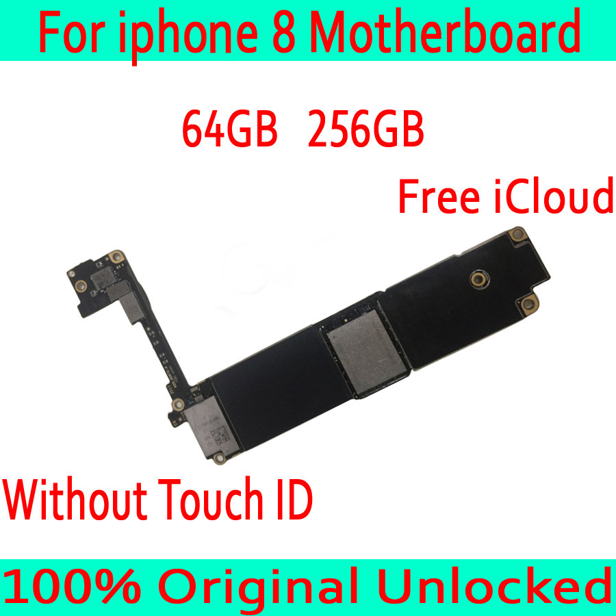 64GB 256GB Original unlocked for iphone 8 Motherboard without Touch ID,for iphone 8 Mainboard with Free iCloud,100% Test Well