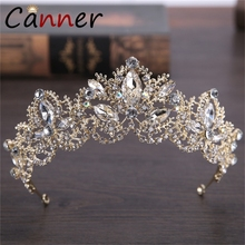 CANNER Exquisite Baroque Headband Crown Wedding Tiara Crystal Tiaras and Crowns Wedding Hair Accessories Gold Crown Diadem FI baroque pink rhinestone pearl bridal crowns handmade tiara headband crystal wedding diadem queen crown wedding hair accessories