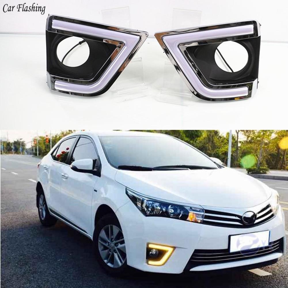 car flashing 2 pcs For Toyota Corolla 2014 2015 2016 LED DRL Daytime driving Running Lights