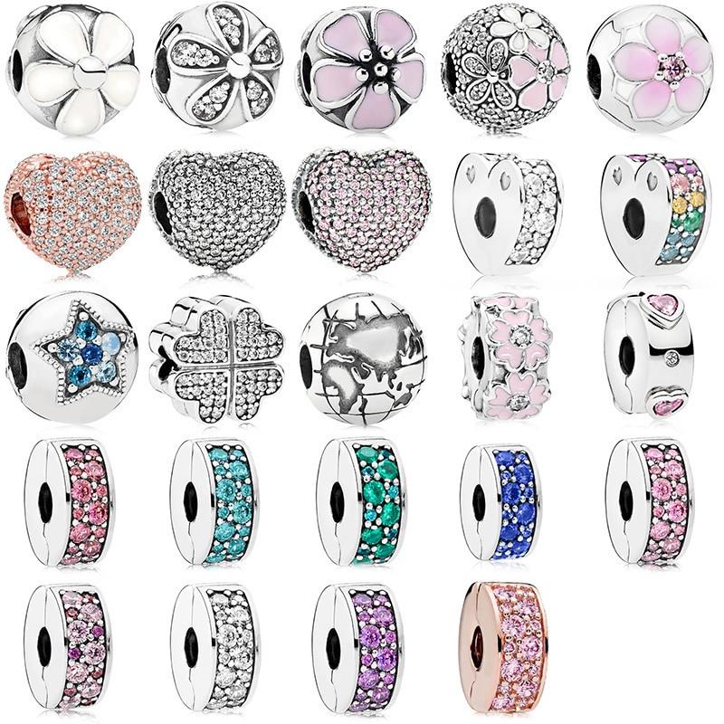 Silver Plated Beads Charms Spirited Love Flower Crystal Stopper Beads for Women Original Pandora Charm Bracelet & Bangle