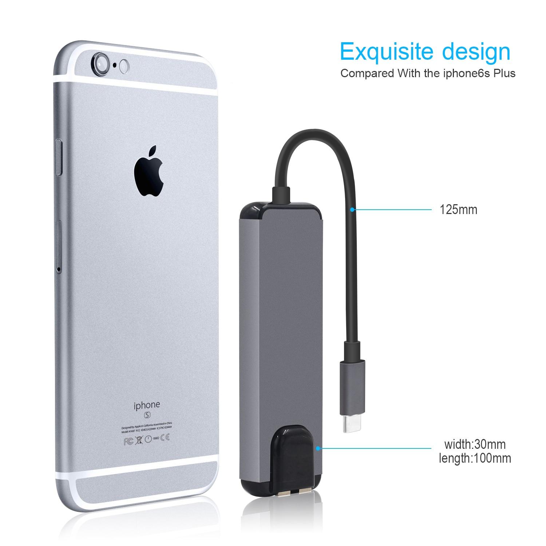 5 En 1 USB C a HDMI Gigabit Ethernet Rj45 Lan adaptador para Macbook Pro iPad Pro 12,9 buje 2018 Thunderbolt 3 tipo c - 4