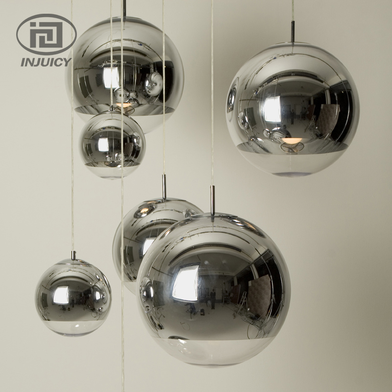 Modern Silver Plating Glass Pendant Lights Home Hanging Lighting Vintage Glass Lampshade For Cafe Bar Store Hotel Dining Room