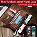 De lujo de la cremallera billetera de cuero flip case para iphone6 6 plus 6 s magnética hecha a mano multi función para iphone6s más grande capacidad