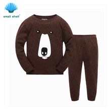 samll shell 2016 autumn winter style children kids clothing sets baby girls clothes suits leisure wear Big bear printing F0115