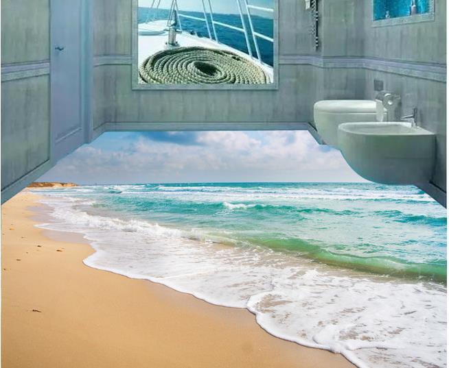 Custom photo floor wallpaper 3d stereoscopic ocean beach for 3d wallpaper for home floor