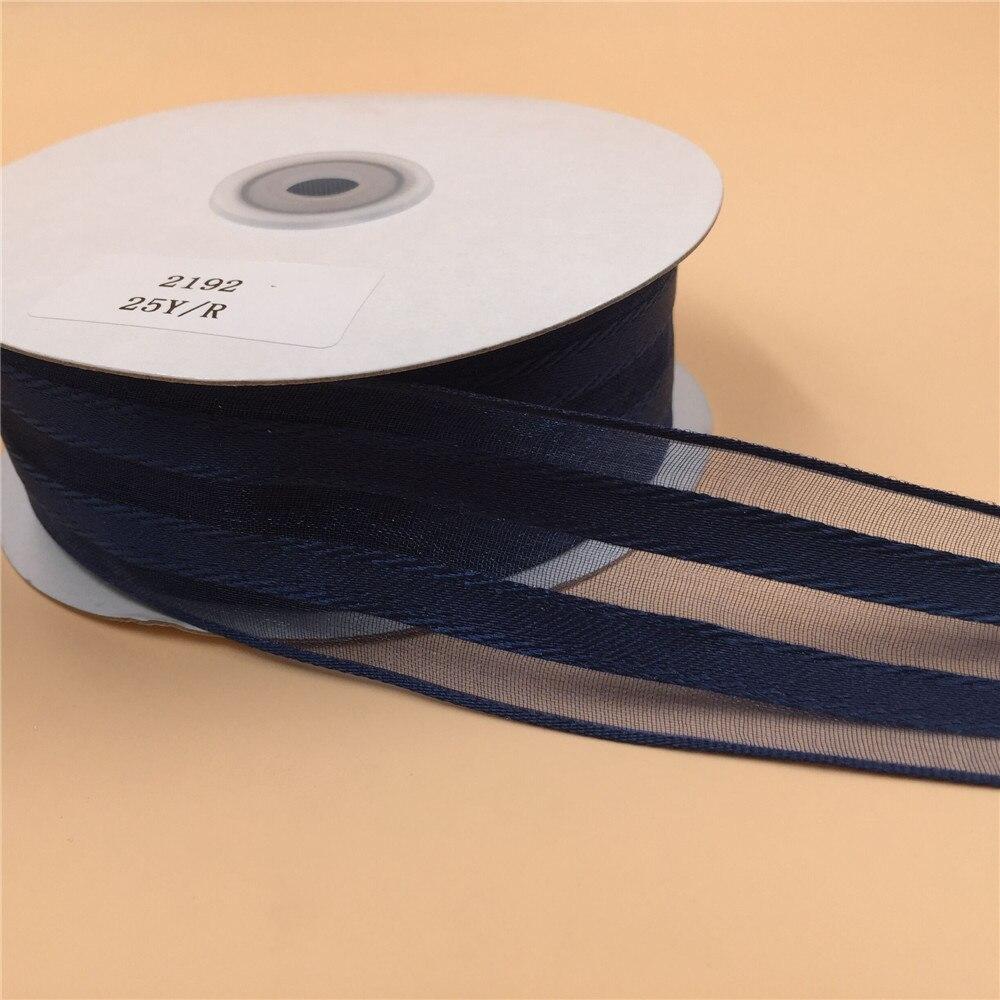 10m Roll 15mm Organza Ribbon Deep Blue