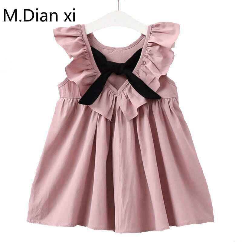 2018 новое летнее платье в Корейском стиле с бантом и ушками для девочек, милое детское платье с рисунком