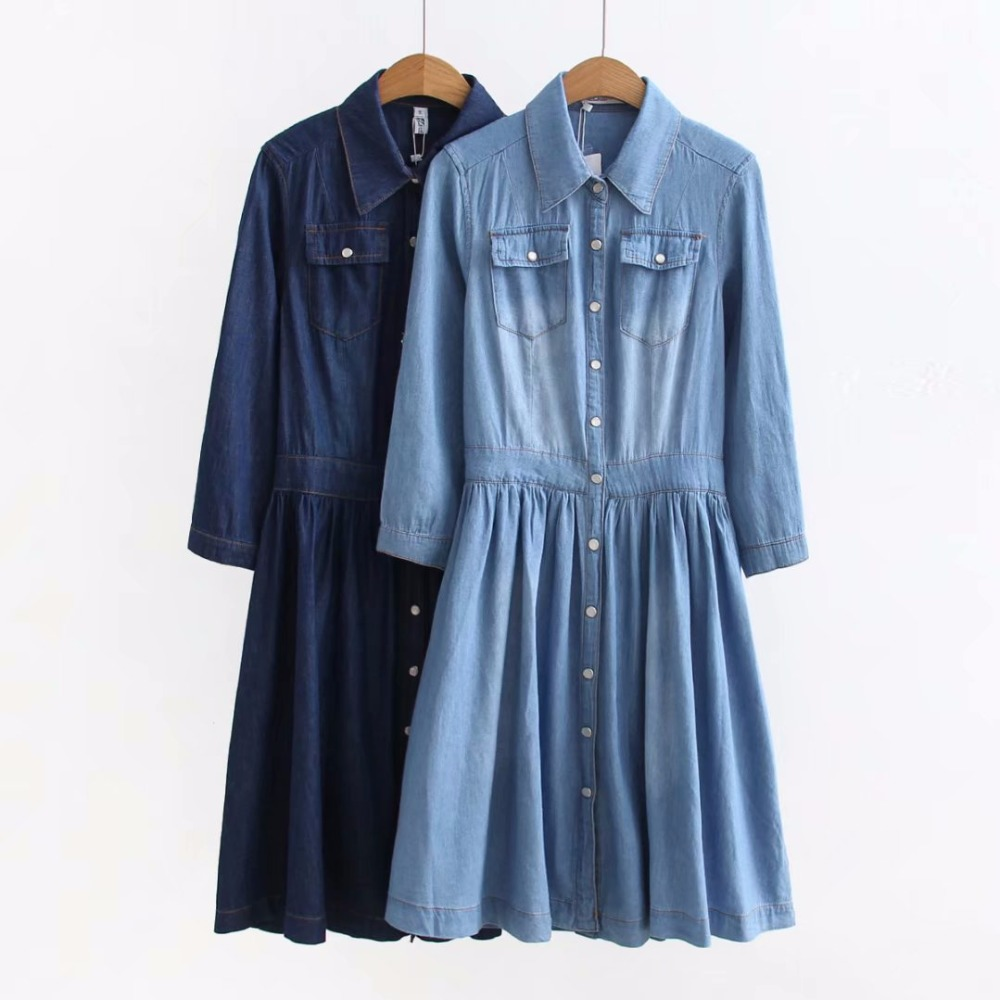 2018 New Arrival High Quality Plus Size Women's Clothing, Female Fashion Casual 4XL Blue Denim Dress Elegant Slim Jeans Dresses