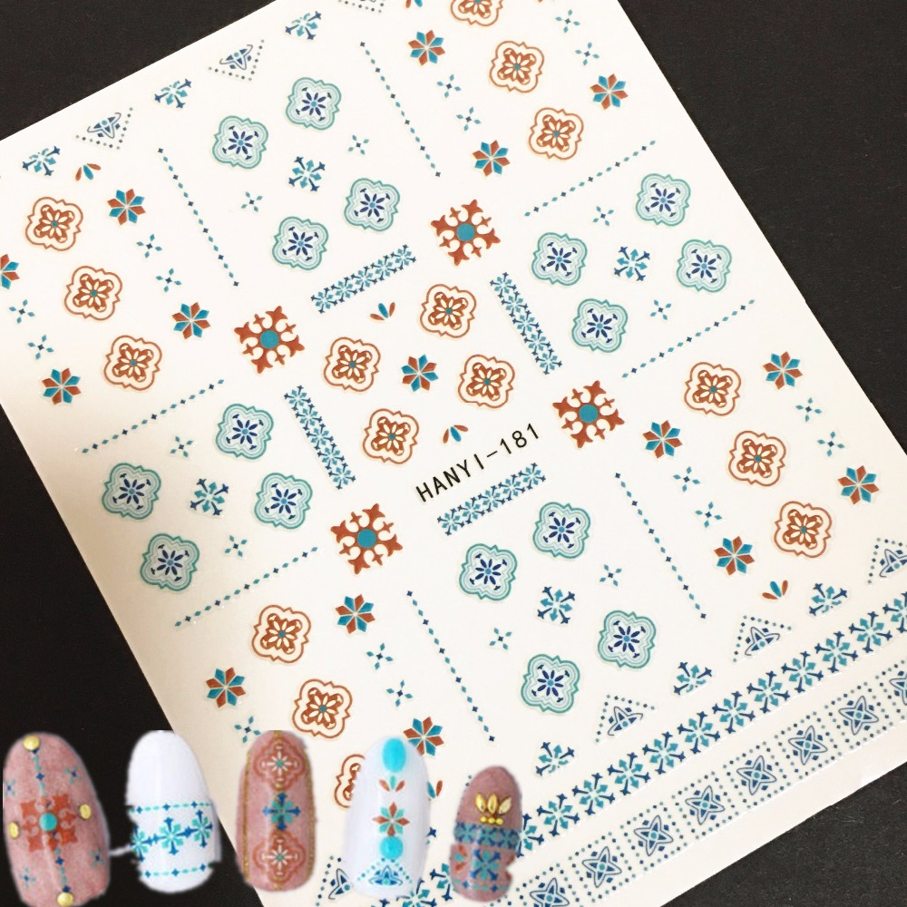 Newest HANYI 181 3d nail art stickers decals stamping ...