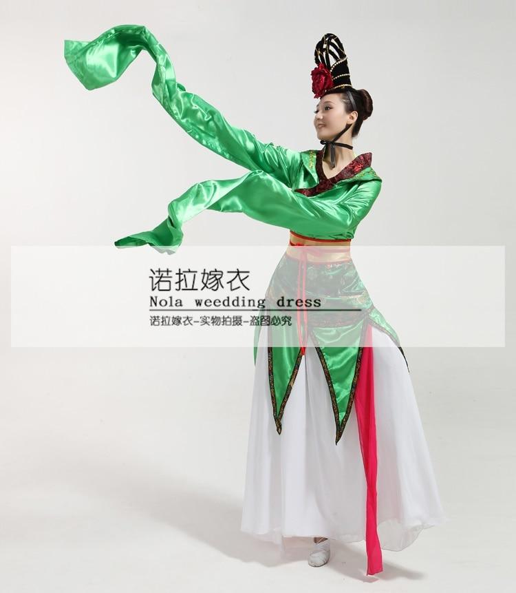 CCTV Весна фестиваль костюмы для выступлений Длинные рукава воды традиционный наряд ханьфу выщипывание стопать классический китайский тане... - 5