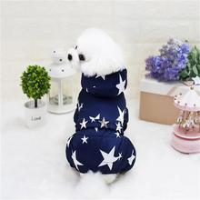 Soft Doggie Warm Pets Dog Clothing Autumn Winter Thickened Star Sky Pattern Four-leg Jumpsuits Dog Coat Clothes