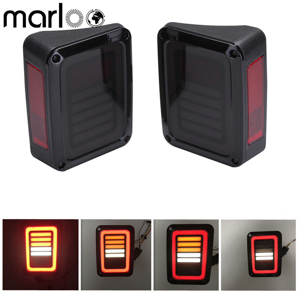 Marloo LED Tail Lights Smoke For Jeep Wrangler JK JKU With Break Back Up Light Reverse Turn Parking Signal Lamp Assembly auxmart 22 led light bar 3 row 324w for jeep wrangler jk unlimited jku 07 17 straight 5d 400w led light bar mount brackets