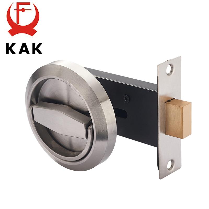 KAK Hidden Door Locks Stainless Steel Handle Recessed Invisible Keyless Mechanical Outdoor Lock For Fire Proof Home Hardware