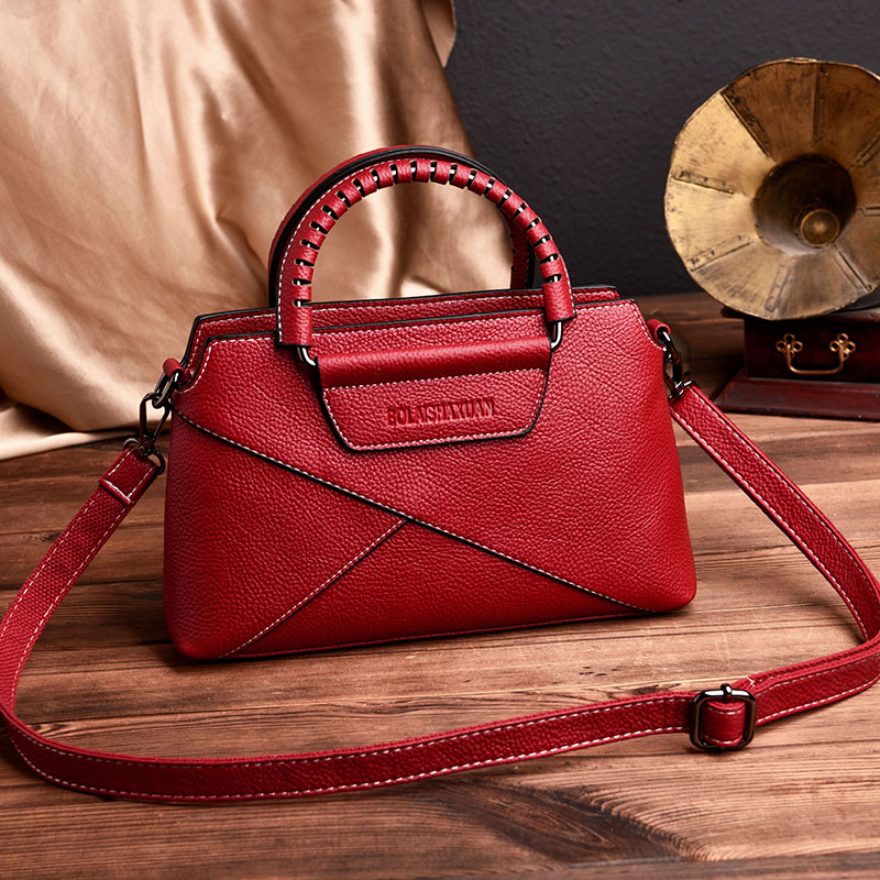 цена Fashion Patchwork Ladies Bags Women's Genuine Leather Handbags Shoulder CrossBody Bags Women Messenger Bag Bolsas Feminina