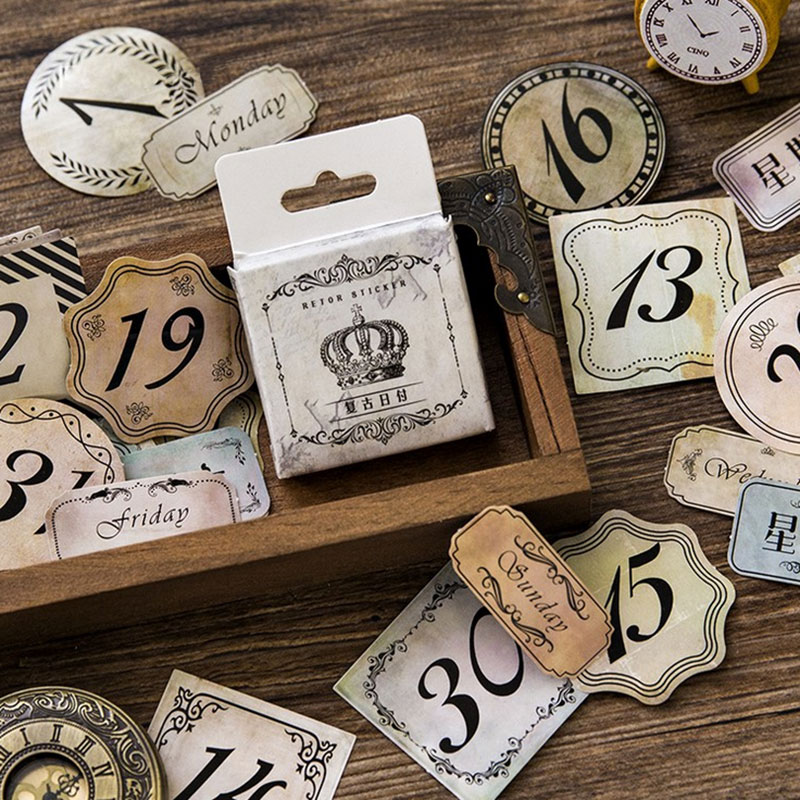 45 pcs/box Vintage dates week stickers DIY album adhesive paper Scrapbook Notebook decoration sticker stationery kids gifts alive for all the things are nice stickers adhesive stickers diy decoration stickers