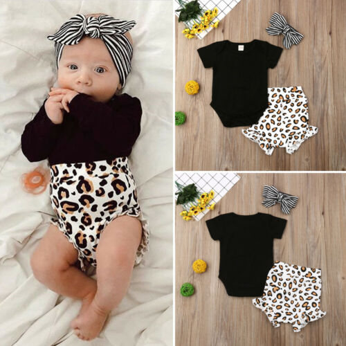 2019 Toddler Kids 3pcs Clothing Set Leopard Printing Baby Girl Infant Short Sleeve Romper Tops Pants Outfits