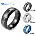 SHARDON Mens ring 8mm Dome Tungsten Carbide Baseball Stitch design ring with laser Rings for man 3 colors Freeshipping