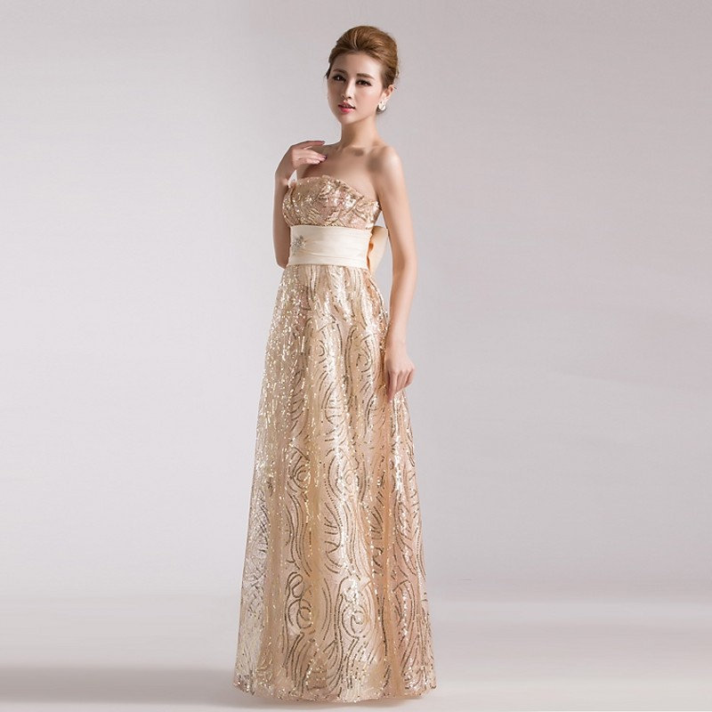 Latest Wedding Gowns 2014: Champagne Gold Evening Dress 2014 Fall New Arrival Long