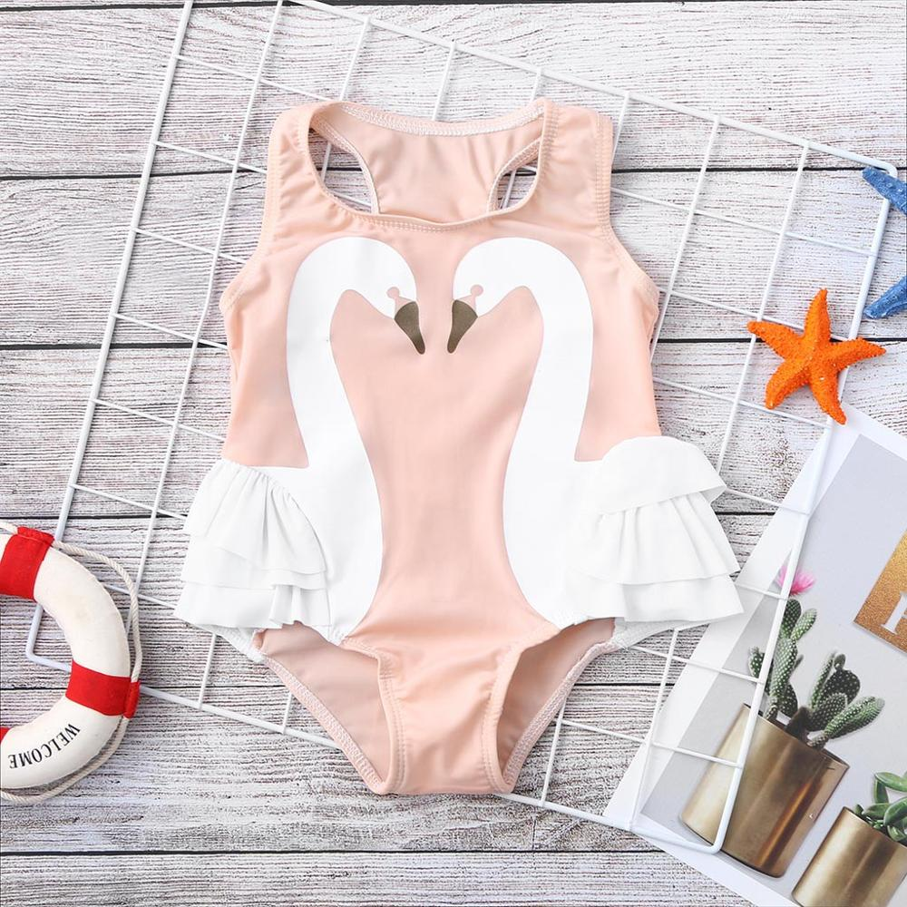 Swimsuits For Girls Children's Sleeveless Swan Three-dimensional Frilled Swimsuit Swimwear Beach One Piece Kız Bebek Mayo A1