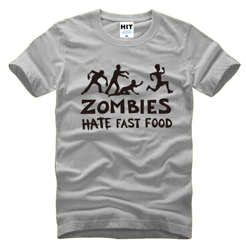 Zombies Hate Fast Food Swag Funny Mens Men T Shirt Tshirt 2016 New Short Sleeve O Neck Casual T-shirt Tee Camisetas Hombre
