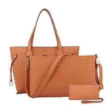 Moda Nuevo 2016 En Relieve PU bolso de la mujer conjunto de Cualidades señora tote bolsa de la cremallera a cuadros bolsa de mensajero del hombro de Lujo billetera