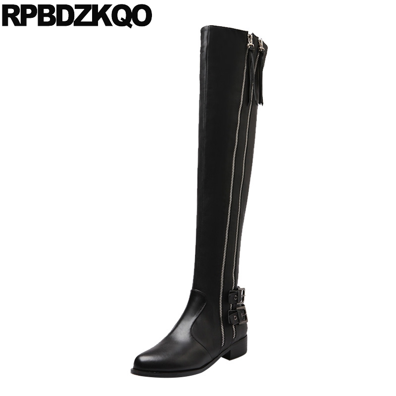 2017 Knee High Round Toe Side Zip Boots Casual Black Over The Genuine Leather Flat Slim Female Long Fashion New Chinese Ladies2017 Knee High Round Toe Side Zip Boots Casual Black Over The Genuine Leather Flat Slim Female Long Fashion New Chinese Ladies