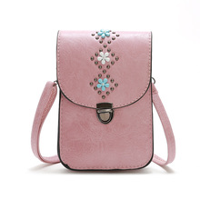 2020 Summer Cute Girls Street Casual Mobile Phone Crossbody Bags for Women Mini Flap Leather Floral Messenger Bag Bolsos Mujer