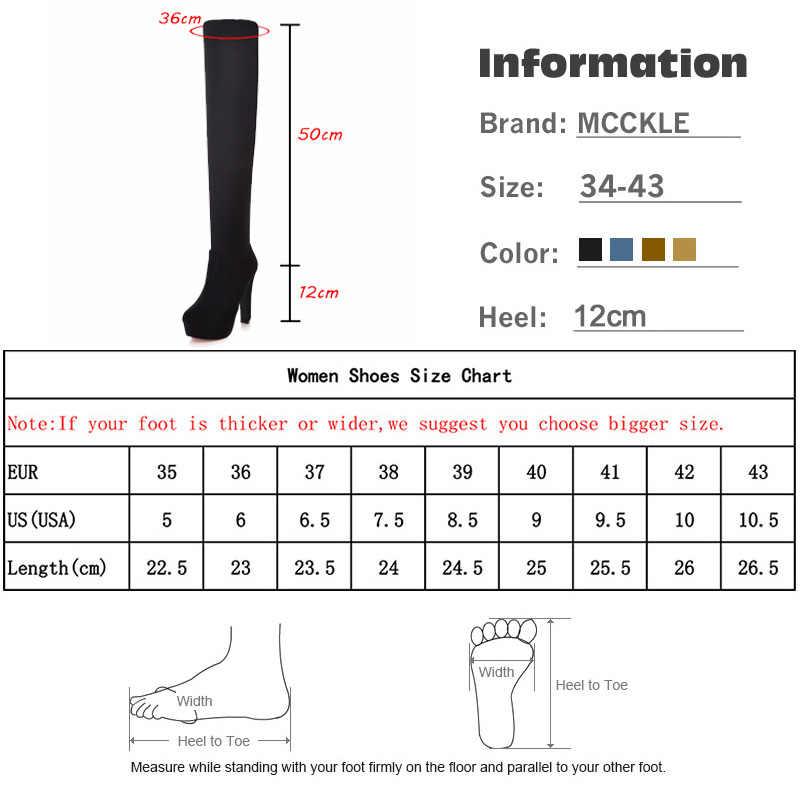 MCCKLE Kadın Artı Boyutu Platformu Diz Çizmeler Moda Kadın Süet Seksi Yüksek Topuklu Ayakkabılar 2018 kadın ayakkabıları Siyah