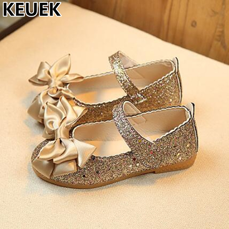 NEW Spring Flat Dance Children Shoes Girls Fashion Bowknot Leather Shoes Kids Princess Sequin Cloth Baby Toddler Flats 044